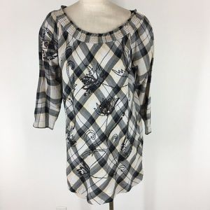 Soft surroundings top tunic plaid embroidered